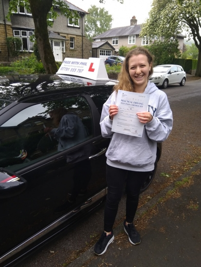 Huge congratulations go to Abby, after passing her test today in Buxton at the first attempt and with only 6 driver faults. She joins the exclusive club of passing both theory and driving tests first time. A great drive, well done. It´s been an absolute pleasure taking you for lessons, enjoy your independence and stay safe ðŸ˜�