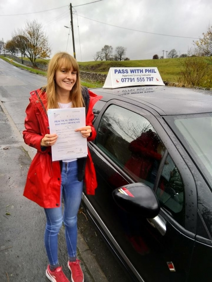 Huge congratulations go to Caitlin who passed her driving test today in Buxton with only 5 driver faults and a day after turning 18. Its been an emotional roller-coaster of a journey, where I&acute;ve seen you grow, develop and mature into a very safe and knowledgeable driver, overcoming serious nerves and anxiety. You worked hard for that and fully deserved it.<br /> Enjoy your independence and stay s