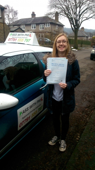Huge congratulations go to Ellie who passed her driving test this morning in Buxton 12th Februaryand at the first attempt She joins that exclusive club of passing both theory and driving test first timeThe test had been cancelled due to snow so worth the wait A great drive as you were very nervous well done Itacute;s been great meeting you and a pleasure helping you achieve your goal En