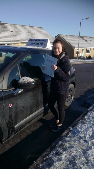 Well after a couple of cancellations due to bad weather Grace finally took her test in Buxton this morning and nailed it with only 4 driver faults Congratulations Grace well done Grace also had a bit of time out due to a bad illness so all the more satisfying to have come out with a great pass<br /> <br /> Itacute;s been an absolute pleasure taking you for lessons Enjoy your independence and stay saf