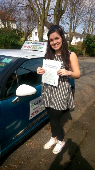 Huge congratulations go to Nicole who passed her driving test today in Buxton 8th April You were very nervous going into it and even had a bit of the old disco leg on those pedals but you stayed calm and had a great drive well done Itacute;s been an absolute pleasure meeting you and helping you achieve your goal Enjoy your independence and stay safe