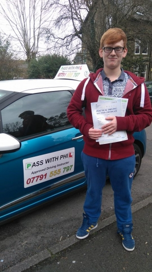 Huge congratulations to Ryan on passing his driving test today in Buxton 23rd March at the first attempt and with only 3 driver faults Ryan joins that exclusive club of passing both theory and practical first time Itacute;s been an absolute pleasure taking you for lessons Enjoy your independence and stay safe