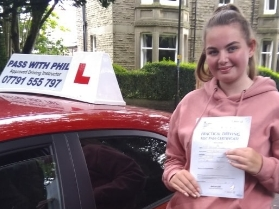 'I passed my test just over a week ago with Phil and I couldn't have done it without him. I am a very anxious person; who lacks confidence and he is amazing. I went with Phil after having a bad experience with a previous instructor a few years ago. He always makes sure that you're comfortable in the drivers seat and makes sure you know mistakes are okay and we learn from them. After every les