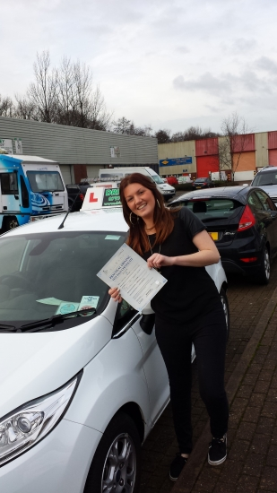 Aimee Hooper proudly holding her certificate after passing her test first time today with a confident drive with 4 driver faults A great result after working hard having most lessons after work in the dark and being determined and focussed on the day Well done and congratulations again A good start to 2014 for Aimee Drivewell and Snowy Hope to see you for Pass Plus soon Enjoy your car h