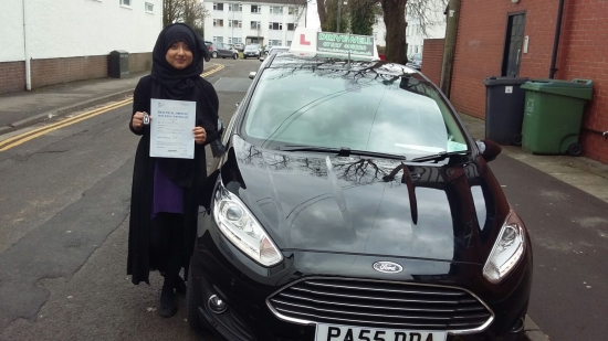 Farhana so happy to be holding her Pass Certificate after passing her Driving Test today The examiner praised her for such a smooth drive with only 2 driver faults Farhans was conscientious on her lessons and determined never giving up Congratulations and well done againLooking forward to seeing you for Pass Plus soon Good luck for safe amp; enjoyable driving Salvina 24th February 2017