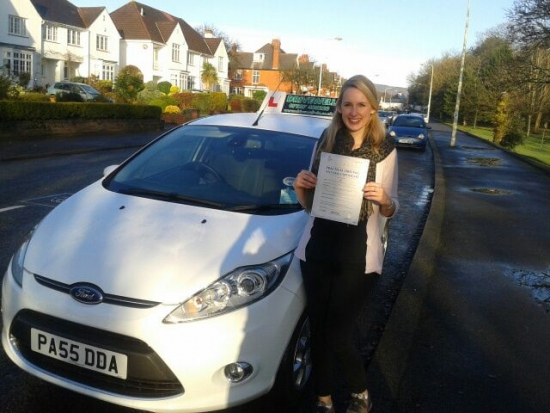 Olivia Woolley proudly holding her Pass Certificate after passing her test first time today Fantastic after that initial enquiry to see you enjoy your driving and lessons A lovely safe drive with few driver faults Well done and congratulations again A lovely finish for Valentino Enjoy your Christmas break and safe driving Salvina Sarah 17th December 2013