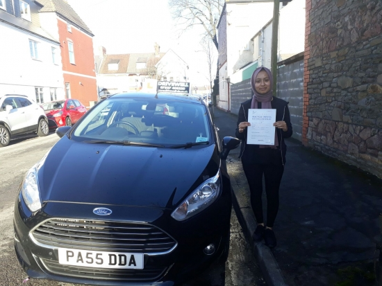 Ruhana Akhtar absolutely delighted to be holding her Driving Test Pass Certificate after passing her test today Ruhana persevered and there were doubts she would pass first time but with sheer determination she did pass first time - with few driving faults A great result especially with the added pressure of a Supervising Examiner in the back of the car Congratulations and well done again E