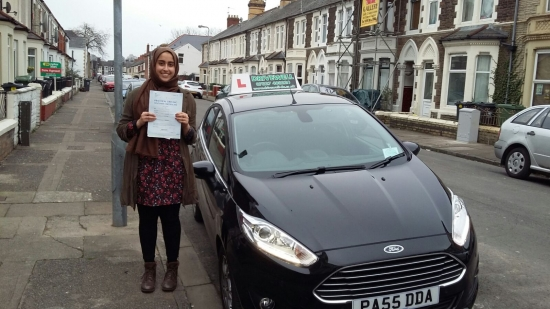 Umber Nasir Khan so pleased to be holding her Pass Certificate after passing her test today A fantastic smooth safe driver with only one driver fault Congratulations and well done again Nasir was a pleasure to teach always giving 120 Keep safe and enjoy your driving Salvina 18th January 2017