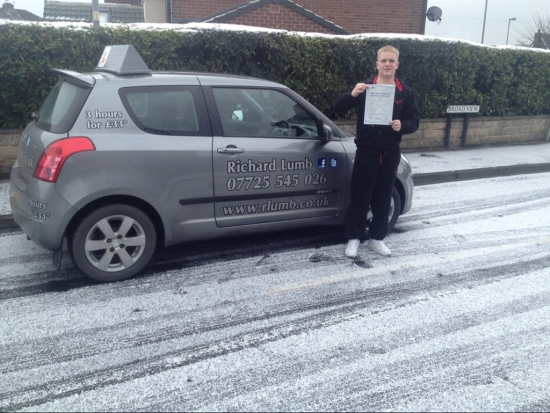 Passed first time with Richexellent insructor and i wouldwill reccomend to anyone who is thinking about starting lessons or finishing their lessons cheers Rich<br /> <br /> Jan 2013