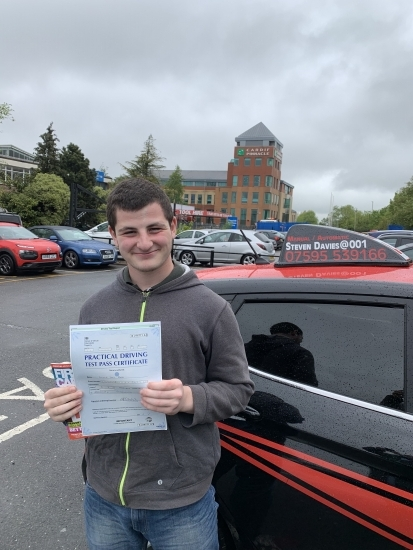 """Congratulations to Oliver Ross who passed 1st time today. That 5 brothers out of 5 brothers all first time passes. <br /> Here's what his mother says. <br /> """"Well what can I say???? The fifth Ross boy to pass first time!  I´m speechless!! You did it once again.. you are amazing! Had no doubts though whatsoever..  you are a fab driving teacher that´s for sure. A massive ´thank you&acut"""
