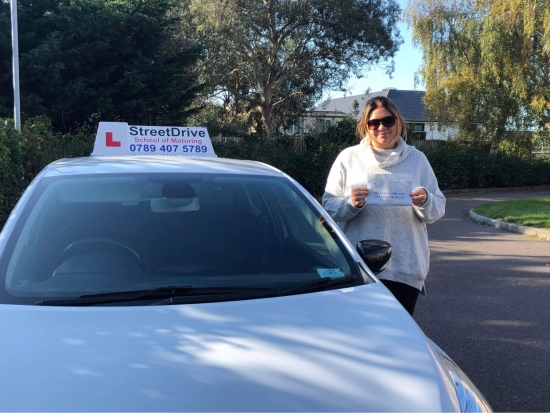 """I can not recommend StreetDrive enough I passed """"first time"""" with Louise as my driving instructor she's amazing and she helped build my confidence so much. <br /> <br /> I can't thank them enough for getting me on the road. <br /> <br /> Passed Friday 9th October 2020."""