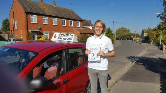 """Congratulations to """"Alex Cave' for passing his driving test this morning at Chippenham DTC, was his '1st Attempt' just """"ONE"""" driving fault, very well done.<br /> <br /> Good luck for the future from your instructor """"Bradlry"""" and ALL at StreetDrive (SoM), drive safely - Passed Monday 22nd October 2018."""
