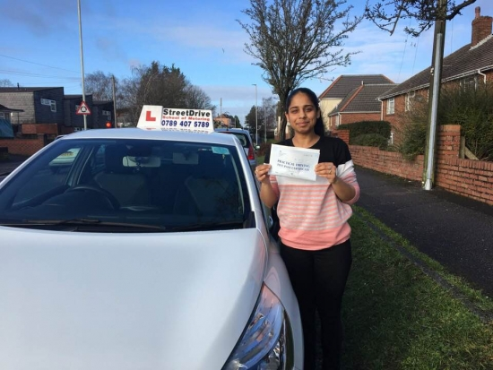 """Delighted for """"Anika Lukha' who passed the new """"SatNav"""" driving test today at Poole DTC, at the """"1st Attempt"""", only """"ONE"""" driving faults, fantastic news.<br /> <br /> <br /> <br /> Well done from your instructor 'Louise' and ALL of us at StreetDrive (School of Motoring), may we wish you many years of safe driving - Passed Monday 22nd January 2018."""