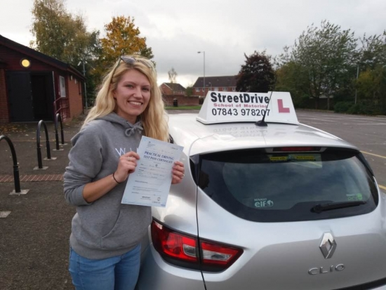 Congratulations to 'Ashleigh Helsby' who passed her driving test today at Trowbridge DTC, just SIX driving faults, great news.<br /> <br /> <br /> <br /> Well done from your instructor's 'Roger' and ALL of us at StreetDrive (School of Motoring), may we wish you many years of safe driving - Passed Tuesday 24th October 2017.