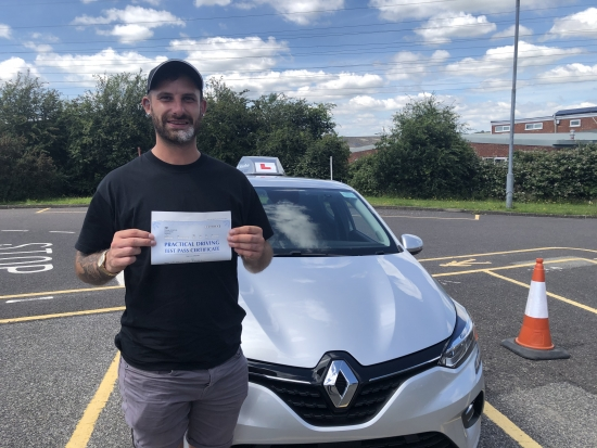 Congratulations David on passing your driving test mate, and at the first attempt! It's been a pleasure, delighted for you, enjoy the freedom pal & stay safe! 👋Passed Wednesday 14th July 2021.