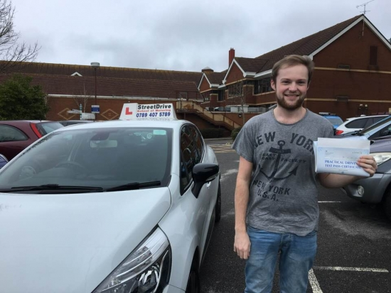 """Delighted for """"Brett Charlton' who passed the new """"SatNav"""" driving test today at Poole DTC, fantastic news.<br /> <br /> <br /> <br /> Well done from your instructor 'Louise' and ALL of us at StreetDrive (School of Motoring), may we wish you many years of safe driving - Passed Monday 5th March 2018."""