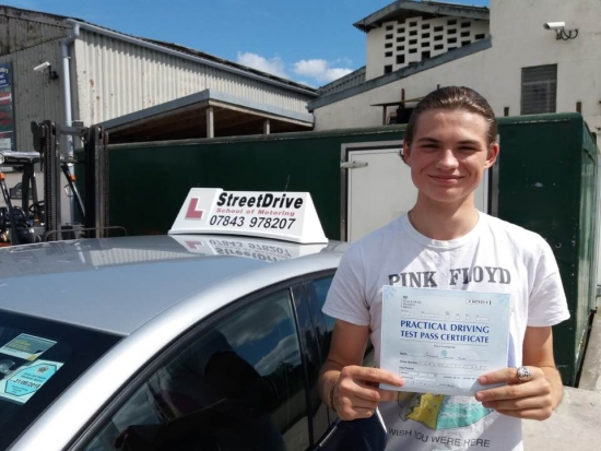 Delighted for Cameron Hurd who passed his driving test today at Westbury DTC 1st attempt just ZERO driving faults fantastic news<br /> <br /> <br /> <br /> Well done from your instructor Roger and ALL of us at StreetDrive School of Motoring may we wish you many years of safe driving - Passed Thursday 10th August 2017