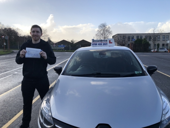"""""""Shaun"""" was a great instructor, very patient and friendly and taught me very well. I ended up passing this morning first time with 1 minor fault, absolutely fantastic, thanks again Shaun! <br /> <br /> StreetDrive School of Motoring was 10/10, really amazing! - Passed Saturday 19th December 2020."""