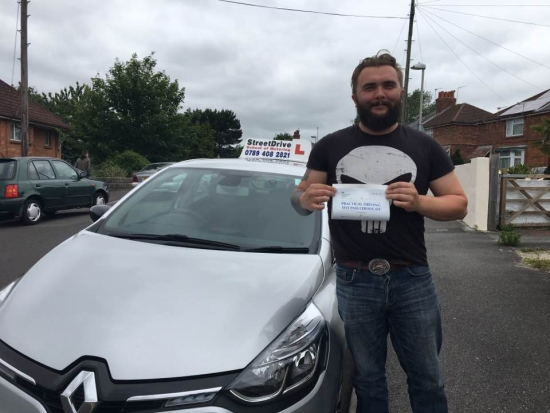 Delighted for Dan Fudge who passed his driving test today at Poole DTC 1st Attempt just FOUR driving faults<br /> <br /> <br /> <br /> Well done from your instructor Shaun and ALL of us at StreetDrive School of Motoring may we wish you many years of safe driving - Passed Monday 12th June 2017