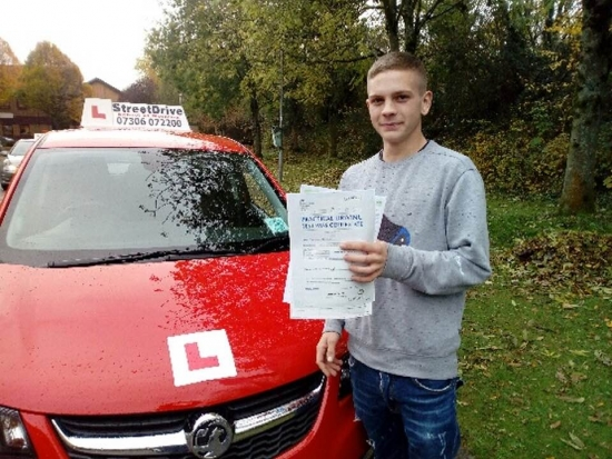 """Delighted for 'Daniel Holder' who passed his driving test at Chippenham DTC, it was his """"1st attempt"""", just the """"6"""" driving faults, we are ALL delighted for you.<br /> <br /> Congratulations from your instructor 'Andy' and ALL of us at StreetDrive (School of Motoring), may we wish you many years of safe driving - Passed Monday 12th November 2019."""