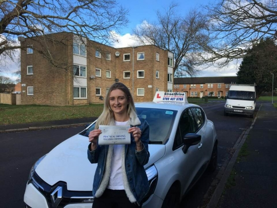 'Louise' is a brilliant driving instructor who made me feel very comfortable and confident in myself, I passed '1st attempt', never thought I would. <br /> <br /> <br /> <br /> Would highly recommend StreetDrive (SoM) and their intensive course´s to everyone who would like to be pass '1st time' in a reasonable time - Passed Friday 26th January 2018.