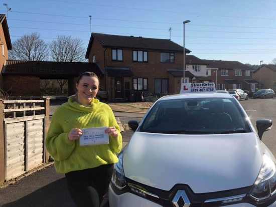 """Beep, beep, congratulations to """"Evie Collins' who passed her driving test this morning at Poole DTC, and at the """"1st attempt"""", just """"THREE"""" driving faults, we are ALL delighted for you.<br /> <br /> Congratulations from your instructor 'Louise' and ALL of us at StreetDrive (School of Motoring), may we wish you many years of safe driving - Passed Tuesday 26th Feb 2019."""