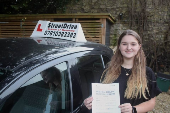 """Congratulations 'Freya Disney"""" who passed her driving test at Chippenham DTC, it was her """"1st"""" attempt, just the """"one"""" driving fault, we are ALL delighted for you.<br /> <br /> Congratulations from your instructor 'Philip' and ALL of us at StreetDrive (School of Motoring), may we wish you many years of safe driving - Passed Tuesday 19th November 2019."""