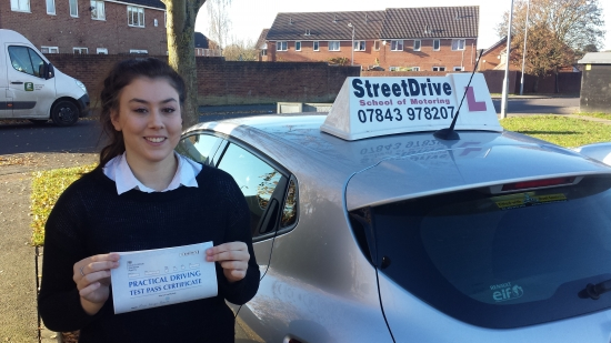 Well done to Imogen Browne who passed her driving test at Trowbridge DTC only TWO faults we are ALL delighted for you<br /> <br /> <br /> <br /> Congratulations from your instructor Roger and ALL of us at StreetDrive School of Motoring may we wish you many years of safe driving - Passed Monday 28th November 2016