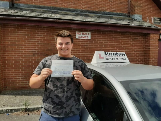 Congratulations to 'Jack Huxham' who passed his driving test at Trowbridge DTC, we are ALL delighted for you.<br /> <br /> Congratulations from your instructor 'Roger' and ALL of us at StreetDrive (School of Motoring), may we wish you many years of safe driving - Passed Monday 5th August 2019.