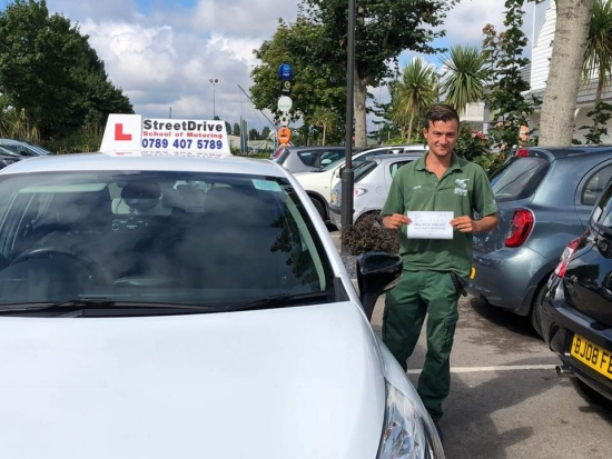 """Congratulations to """"Jamie Aguiar"""" for passing his driving test today at Poole DTC, just """"FIVE"""" driving faults.<br /> <br /> Your instructor """"Louise"""" said It was a pleasure teaching you to drive, good luck for the future from us ALL at StreetDrive (SoM), and drive safely - Passed Tuesday 14th August 2018."""