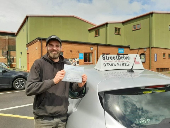 **Passed 1st Attempt, ZERO Driving Faults** <br /> <br /> StreetDrive is absolutely amazing! Just like my instructor 'Roger ! <br /> <br /> I needed to get through my test as fast as possible and he sure did that. <br /> <br /> I passed first time with 0 faults because Rodger is an amazing teacher, cant thank him enough! Jason Appleyard - Passed 9th June 2019