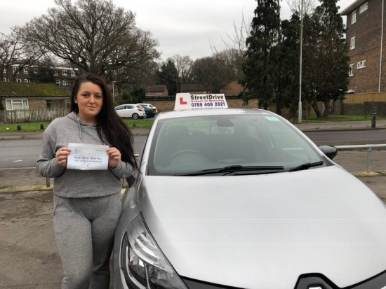 """Delighted for """"Lacey Smith' who passed her driving test today at Poole DTC, just """"FIVE"""" driving faults, very well done, fantastic news.<br /> <br /> Congratulations from your instructor 'Shaun Street' and ALL of us at StreetDrive (School of Motoring), may we wish you many years of safe driving - Passed Thursday 24th January 2019."""