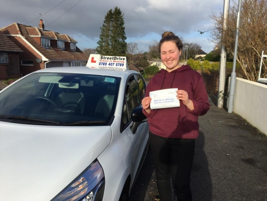 We are Delighted for Lauren Frampton who passed her driving test 1st Attempt at Bournemouth DTC very well done<br /> <br /> <br /> <br /> Congratulations from your instructor Louise and ALL of us at StreetDrive School of Motoring may we wish you many years of safe driving - Passed Tuesday 11th January 2017