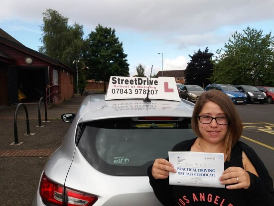 "Congratulations to ""Michaela McBride� for passing her driving test today 1st attempt, just ""THREE� driving faults, at Trowbridge DTC.<br />