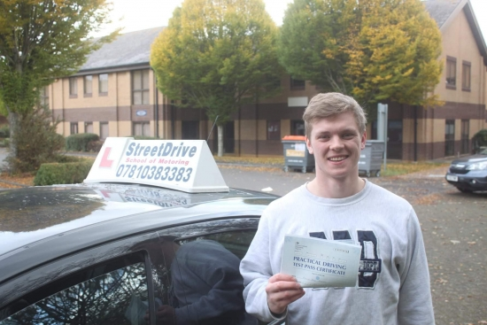 """Beep, beep, congratulations to 'Ned Sweeney' who passed his driving test at Chippenham DTC, """"1st Attempt"""", just """"TWO"""" driving faults, very well done.<br /> <br /> Congratulations from your instructor 'Philip' and ALL of us at StreetDrive (School of Motoring), may we wish you many years of safe driving - Passed Monday 19th November 2018."""