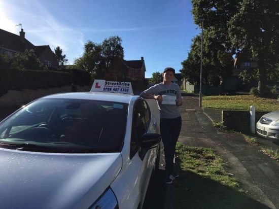 Congratulations to 'Stevie Nagle' who passed his driving test today at Poole DTC, '1st attempt', that&acute;s fantastic news.<br /> <br /> <br /> <br /> Well done from your instructor 'Louise' and ALL of us at StreetDrive (School of Motoring), may we wish you many years of safe driving - Passed Thursday 28th September 2017.