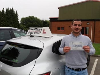 """Delighted for 'Sajmir Gjabri' who passed his driving test today at Westbury DTC, just """"THREE"""" driving faults"""", fantastic news.<br /> <br /> Well done from your instructor 'Roger' and ALL of us at StreetDrive (School of Motoring), may we wish you many years of safe driving - Passed Friday 8th June 2018."""