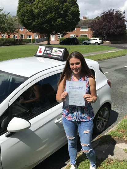 Fab driving from Mel, passing first time at Chester with 6 minor faults!