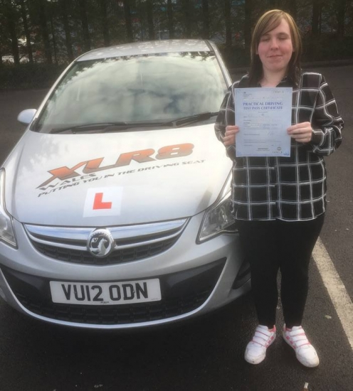 23117 - Congratulations to Becky Oacute;Shea who passed her driving test in Merthyr Tydfil 1st time with our Peter stunning result :-