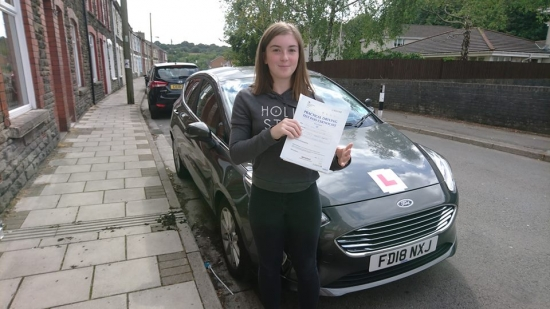 1.8.18 - Congratulations to Bethan Thomas on passing her test today in Merthyr Tydfil first time with only 3 faults lovely result