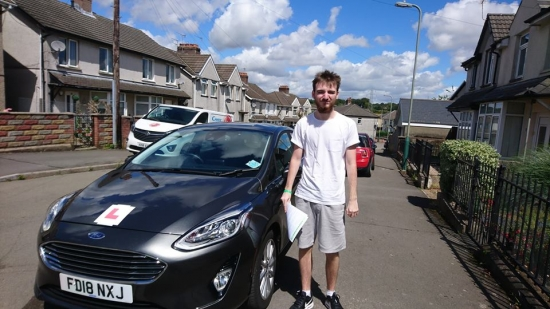 31.7.18 - Congratulations to Callum White on passing his test in Merthyr Tydfil first time with only 5 faults cracking result