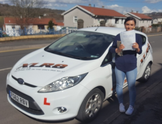 3132016 - Congratulations goes out to Danielle Marshman who passed her driving test today in Abergavenny with only 2 minors