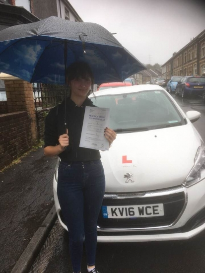 16.8.19 - Congratulations to Emily Steed on passing 1st time after doing manual semi-intensive course!! What a superb result!!
