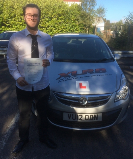 111016 - Congratulations to George Lewis who passed his driving test in Merthyr Tydfil today 1st time with our Peter