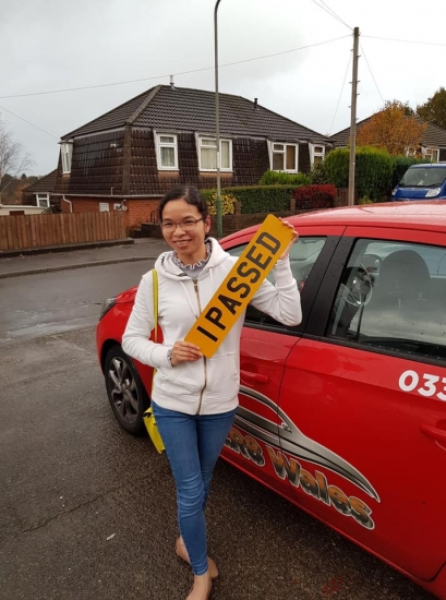 6.11.19 - Congratulations to Le Phuong on passing her driving test today in Abergavenny with our Rhys �🚗�🚗. Well done and safe driving!!!