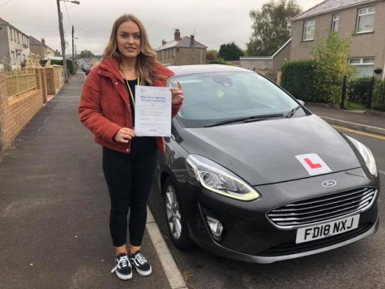8/10/18 - Congratulations to Nia Morgan on passing her test this afternoon with only 5 faults lovely result now no more busses for you 😀